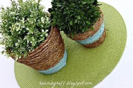 66. Vasos feitos com corda de sisal. Fonte: Pinterest
