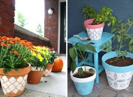 67. Vasos feitos com stencil. Fonte: Pinterest