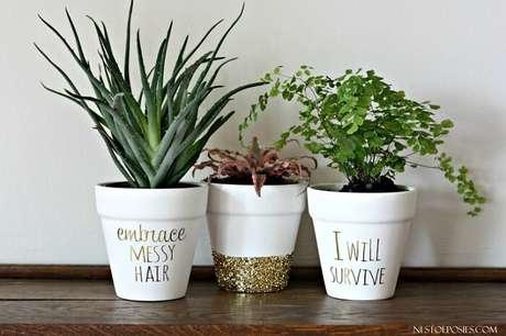 70. Vasos de plantas personalizados com frases. Fonte: Pinterest
