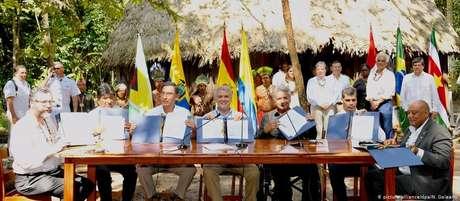 Líderes sul-americanos durante reunião em Letícia, na Colômbia. Ernesto Araújo representou Bolsonaro no encontro.