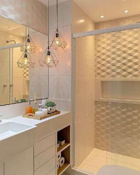 30. Decoração moderna para banheiro feminino todo branco com revestimento 3D e pendentes aramados – Foto: Simples Decoração