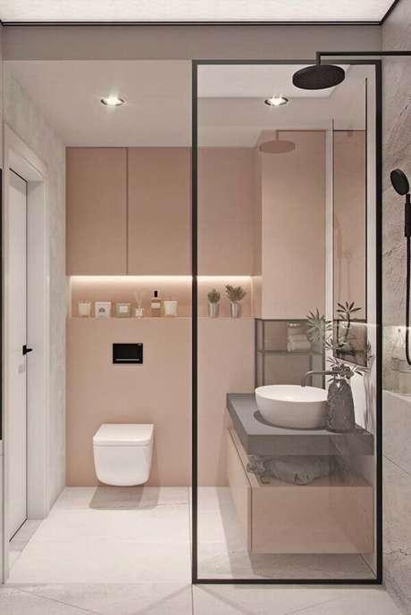 3. A combinação de rosa e cinza é tendência para decoração de banheiros femininos – Foto: Pinosy