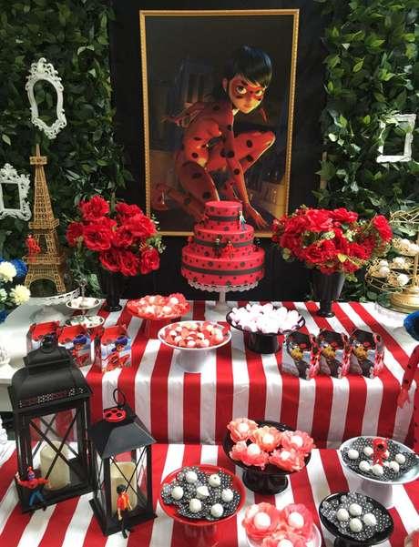 72. Use o painel da festa ladybug para ter uma linda decoração de aniversário infantil – Por: Pinterest