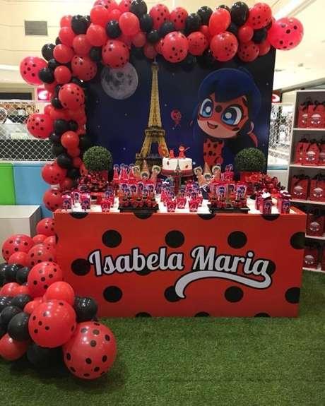 63. Festa Ladybug com torre eiffel e balões – Por: Pinterest