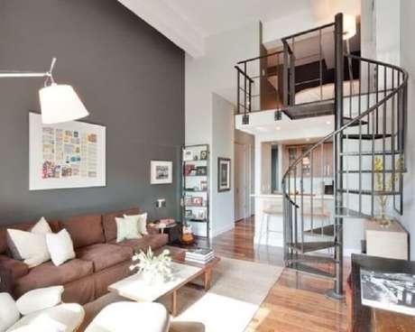 12. Loft com escada em caracol metálico. Fonte: Pinterest