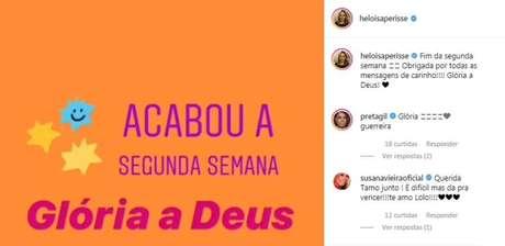 Comentário de Susana Vieira feita em postagem de Heloisa Périssé