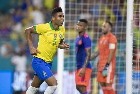 Casemiro no empate do Brasil com a Colômbia na noite desta sexta-feira (Foto: Lucas Figueiredo/CBF)