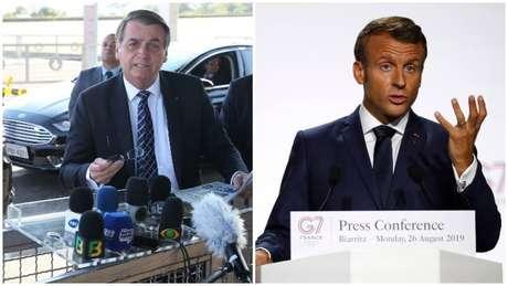Os presidentes do Brasil, Jair Bolsonaro, e da França, Emmanuel Macron