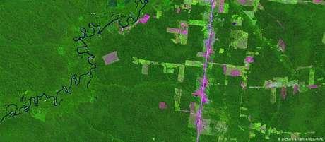 Foto de satélite mostra áreas desmatadas na Amazônia: em julho, desmate cresceu 278% em relação a mesmo mês de 2018