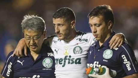 Zé Rafael sofreu uma concussão no jogo contra o Goiás, no sábado (Foto: Agência Palmeiras/Divulgação)