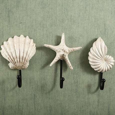 35. Gancho de parede em formato de conchas e estrela do mar. Fonte: Pinterest
