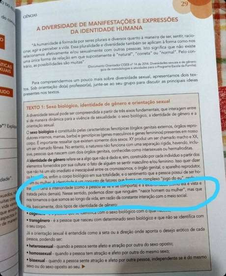 Trecho da apostila apreendida pelo Governo de São Paulo