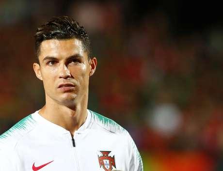 Cristiano Ronaldo, durante a partida das Eliminatórias da Eurocopa de 2020, na qual sua seleção Portugal venceu Kosovo por 5 a 1. 10/9/2019  REUTERS/Ints Kalnins