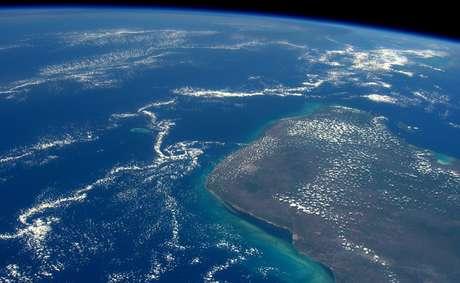 A península Yucatán vista da Estação Espacial Internacional
