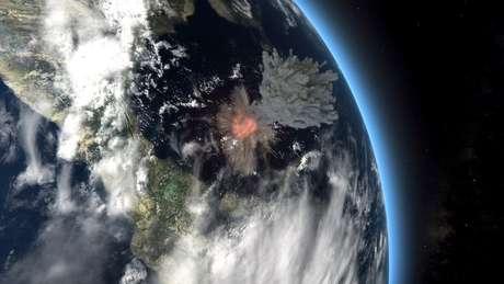 Ilustração mostra o impacto do asteróide, que deve ter desencadeado ondas gigantescas