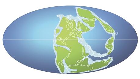 Há 258 milhões de anos, o supercontinente Pangeia ainda não havia sido dividido entre a Laurasia, ao norte, e Gondwana, ao sul.