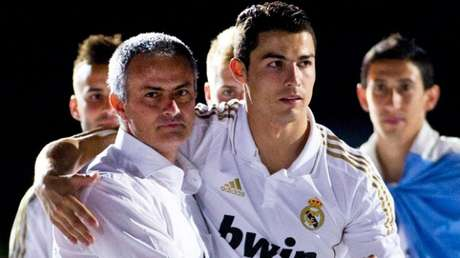 Mourinho e Cristiano Ronaldo juntos no Real Madrid (Foto: AFP)