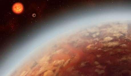 Ilustração artística do exoplaneta K2-18b e de sua estrela