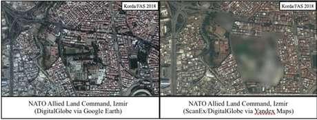 Uma comparação de imagens da base da Otan na Turquia no Google e no Yandex