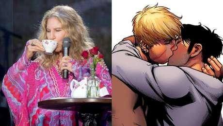 Colagem da cantora Barbra Streisand e beijo do HQ que o prefeito do Rio tentou censurar
