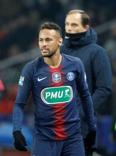 O atacante Neymar em campo pelo PSG