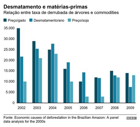 Gráfico relaciona taxas de desmatamento e valor das matérias-primas produzidas na floresta