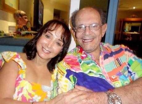 A atriz mexicana Maria Antonieta de Las Nieves, conhecida como a Chiquinha do seriado 'Chaves', e o marido Gabriel Fernández, que morreu em setembro deste ano.