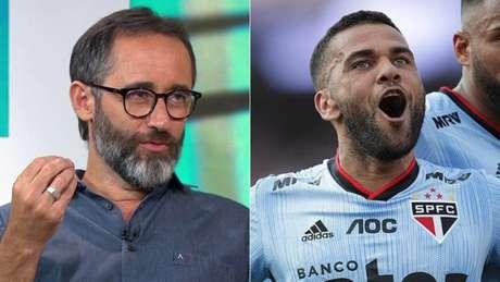 Marcelo Barreto criticou comentários de Daniel Alves (Foto: Reprodução/Sportv; Rubens Chiri/São Paulo)