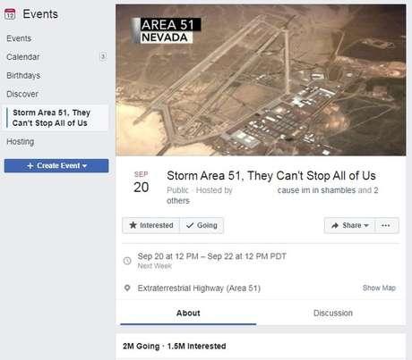 O estudante Matty Roberts publicou o evento sobre a Área 51 no Facebook, em junho, como uma piada
