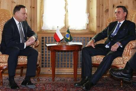 O presidente da Polônia, Andrzej Duda, durante encontro com Jair Bolsonaro, em Brasília, em janeiro deste ano (24/01/2019)