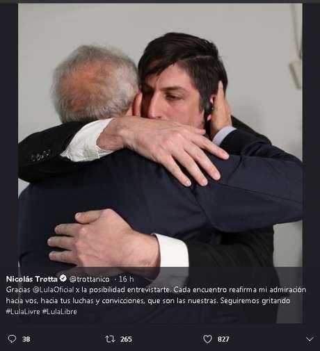 O jornalista Nicolás Trotta postou tweet emocionado a respeito do encontro com Lula