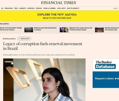 """O 'FT' identificou o RenovaBR como """"uma das forças políticas mais poderosas do País"""" desde que os escândalos da Lava Jato abalaram o Brasil"""