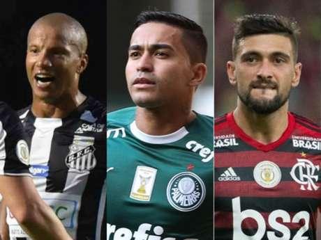 Flamengo, Palmeiras e Santos brigam pela taça (Ivan Storti/Santos; Divulgação/Palmeiras; Alexandre Vidal/Flamengo)