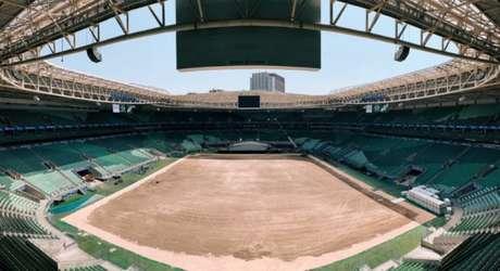 Allianz Parque teve o gramado retirado antes de dois shows (Foto: Reprodução)