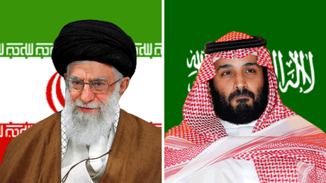 O aiatolá do Irã, Ali Khamenei (à esq.), e o príncipe saudita Mohammed bin Salman