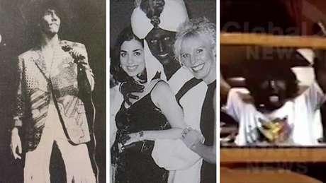 Imagens de Justin Trudeau usando maquiagem blackface em 2001 (centro) e anteriormente (esquerda e direita)