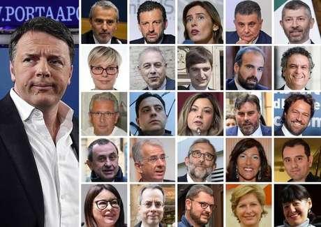 Renzi e parlamentares que aderiram a seu novo projeto político