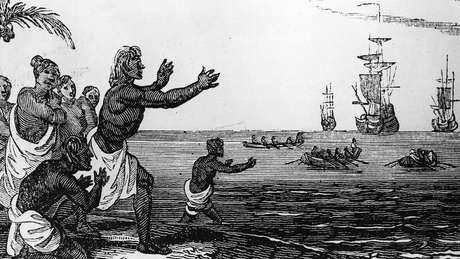 O primeiro encontro entre a expedição europeia e a população nativa ocorreu na Patagônia