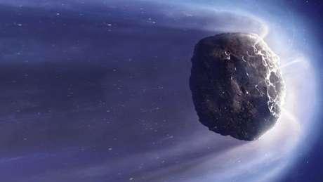 Ilustração de um cometa genérico. Os cometas são restos de materiais que deram origem a planetas gigantes e nunca chegaram a ser incorporados a esses planetas.