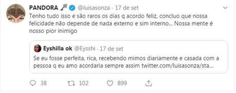 Tuíte de Luísa Sonza preocupo amigos e fãs.