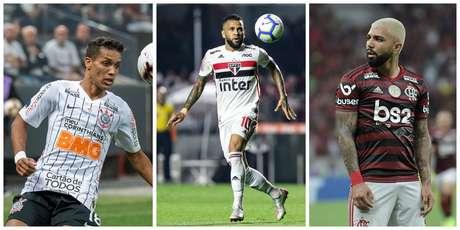 Da esquerda para a direita, Pedrinho (Corinthians), Daniel Alves (São Paulo) e Gabigol (Flamengo)