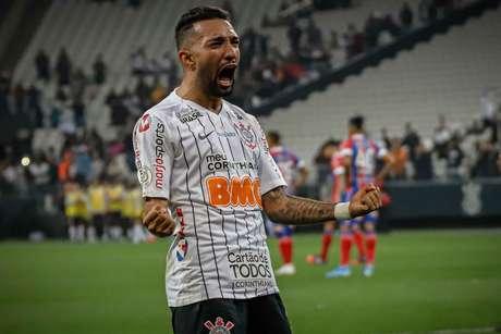 Clayson, do Corinthians, comemora seu gol contra o Bahia, pela 20ª rodada do Campeonato Brasileiro 2019, na Arena Corinthians