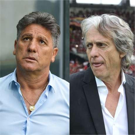 Renato Gaúcho, técnico do Grêmio, e Jorge Jesus, do Flamengo