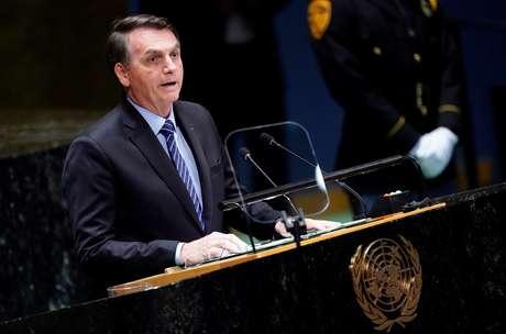 Presidente Jair Bolsonaro durante discurso na Assembleia nas Nações Unidas (ONU), em Nova York, nesta terça-feira (24)