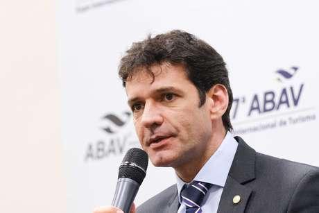 Marcelo Álvaro Antônio durante entrevista coletiva realizada na 49ª Expo ABAV 2019, em São Paulo.