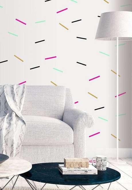3. Decoração de parede com fita isolante colorida para sala clean com estilo minimalista – Foto: Revista Artesanato