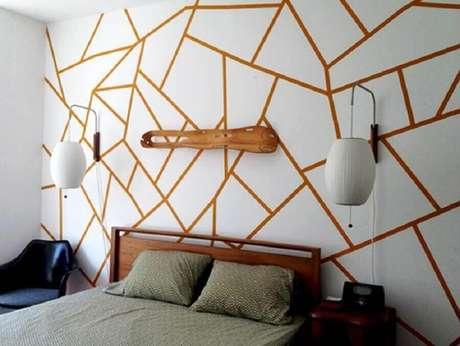 39. Decoração de quarto com fita isolante – Foto: Revista Artesanato