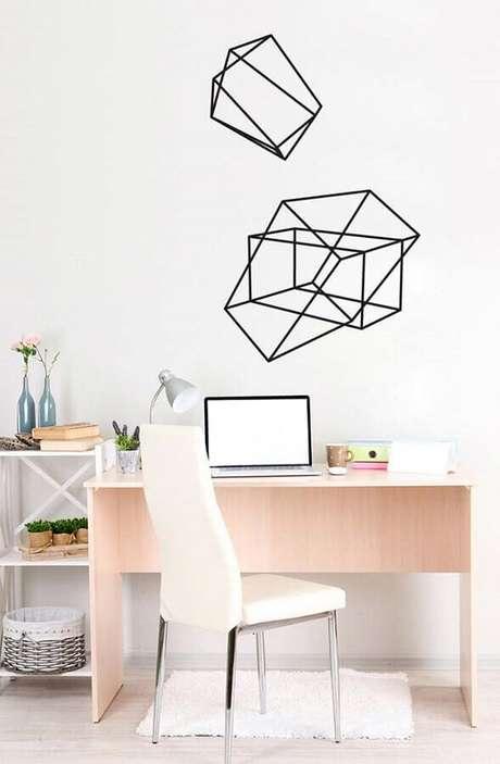 46. Home office simples com decoração com fita isolante preta – Foto: Pinterest