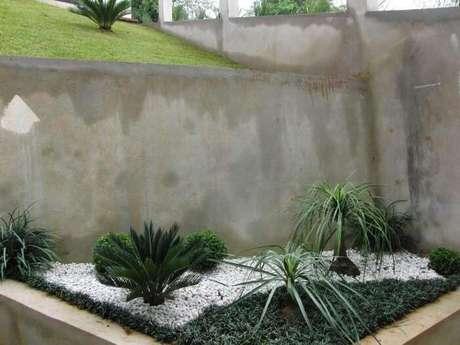 56. Jardim planejado com pedras brancas e grama do tipo preta. Fonte: Pinterest