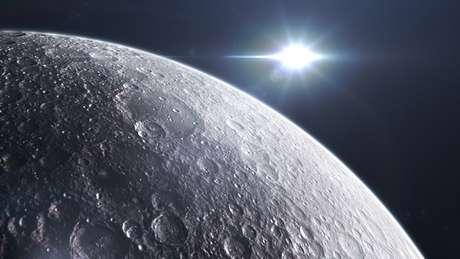 Superfície da lua vista do espaço